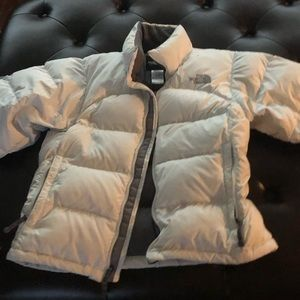 White North Face puffer jacket